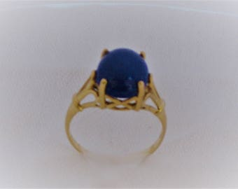 Ladies Lapis Stone Ring set in 10K Yellow Gold