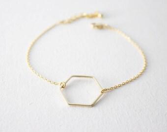Hexagon Bracelet - Gold Hexagon Bracelet, gift, Open Hexagon Bracelet