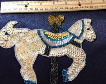 Sequin & Bead Horse Embelishment Flat 7""