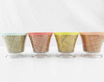 Ice Cream Cups - Sherbet Cups - Footed Bowls - Four Thermal Cups/Bowls - Rattan - Fun - Picnic Basket - Cold OR Hot - Rainbow Colors