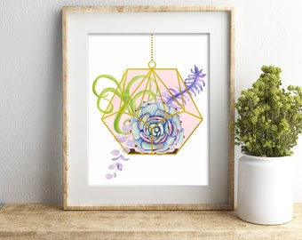 Hanging Terrarium Succulent and Cacti Art, Pink and Gold Watercolor Succulent Gift For Her, Plants Botanical Illustration, Cactus Nursery