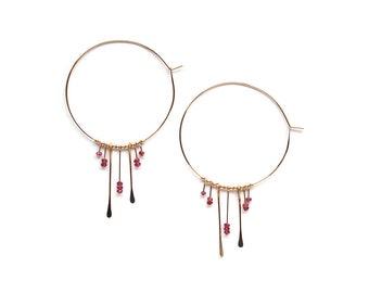 Ruby Boho Hoop Earrings - September Birthstone - Precious Gemstone Jewelry - 14K Gold Fill