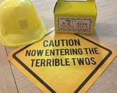 Terrible Twos Construction Sign - Construction Party Printable Photo Prop - Construction Birthday Decorations - INSTANT DOWNLOAD