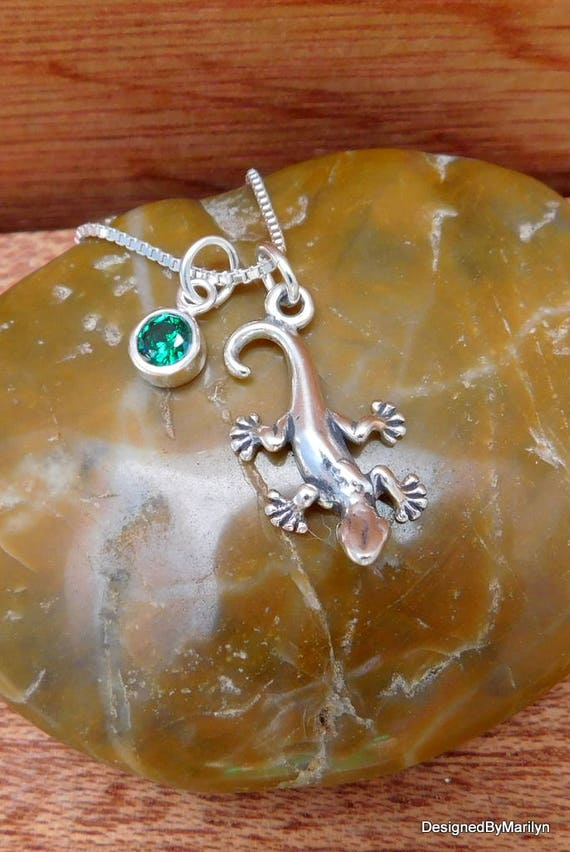Sterling silver gecko necklace, birthstone jewelry, nature jewelry, lizard jewelry