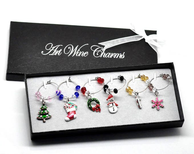 Boxed Christmas Fun Wine Charms - 6 pack