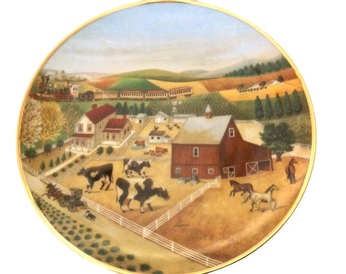 American Folk Art Vintage Plate, Lowell Herrero, Franklin Mint, Country Journeys, Modern Farmhouse Decor, Cow Plate
