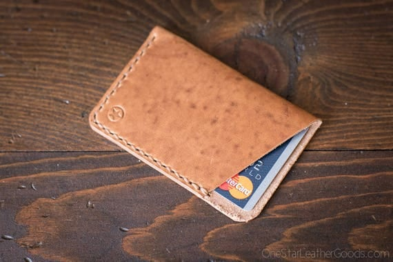 The Minimalist: micro card wallet, business card case, Horween leather - natural Dublin