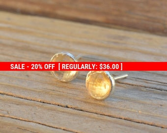 SALE 20% OFF Citrine earrings,citrine stud earrings,sterling silver earrings,stud earring,citrine studs,gemstone earrings,November