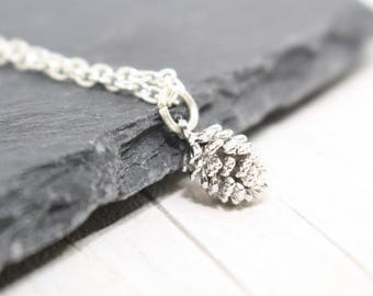 Silver Pine Cone Necklace, Silver Necklace, Fall Necklace, Autumn Style, Rustic Necklace, Christmas Gift, Silver Pendant, Charm Jewelry