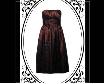 Strapless Gown by Bill Levkoff in Chocolate Brown Satin - Size Small