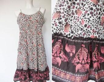 ON SALE 15% Pink white brown   flower  mini  cotton  India dress/  Hippie Boho Ethnic  sphagetti straps summer cotton dress/ S/M