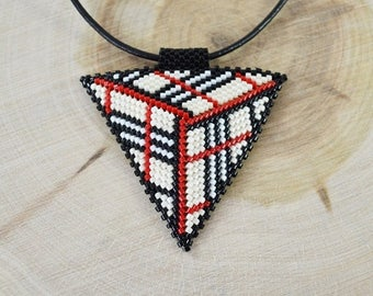 Christmasinjuly 3D Triangle pendant necklace beige red white black  Unusual necklace seed beads beading peyote stitch Beadwork Summer boho b