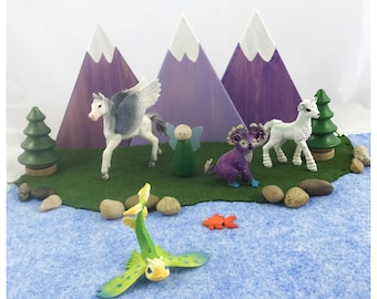 Purple Set of three wood Mountains - pretend  storytelling - woodland train table dollhouse - play mat accessory hand painted toy landscape