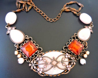 Pink Rhinestone Copper Tone Necklace, Victorian Style, Vintage