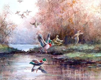 Ducts Flying - Art Tile Print on Ceramic with Hook or with Feet Indoor Use -Nature, Birds