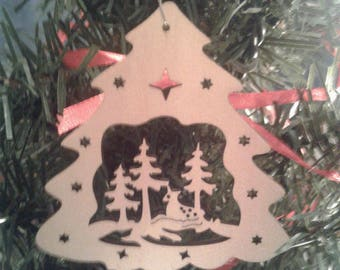 Wooden Christmas Ornaments Christmas Tree with Deer Ornaments