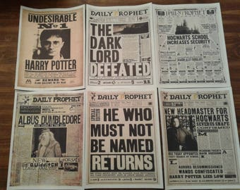 Harry Potter Daily Prophet Newspaper Headlines PRINT 6-Pack Snape Dumbledore Hogwarts Ministry of Magic Voldemort