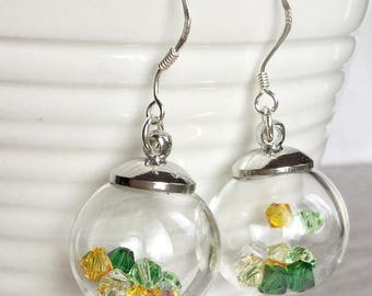 Crystal filled Glass vial, jar, bottle Earrings; Spring Earrings; Spring Accessories; Seconds