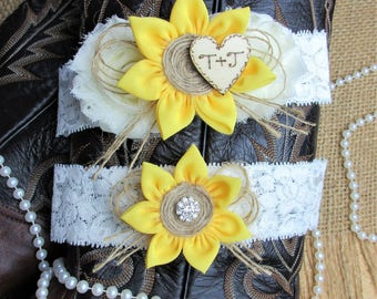 Personalized Sunflower Country Chic Wedding Garter Set,Keepsake & Toss Garter Set,Monogrammed Wedding Garter Set