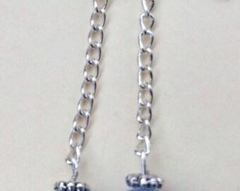 Light blue bead dangling earrings