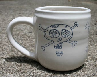White mug with 3 Sugar Skulls hand drawn around outside - Handmade - holds 12 ounces