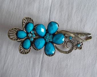 Vintage Ornate  Turquoise Blue Beaded Long Hair Clip //4