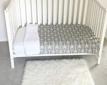 GRAY ARROW Baby Blanket Gender Neutral Crib Blanket Toddler Bed Blanket Faux Fur, Tribal Baby Blanket by BizyBelle