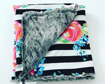 STRIPE FLORAL CANOPY • Girl's Carseat Canopy • Faux Fur • Baby Shower Gift Faux Fur by BizyBelle