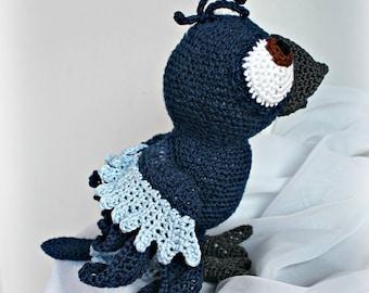 BLUE Parrot plush handmade crocheted