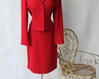 Sexy Summer Sale Lovely Lipstick Red Designer Jacket & High Waist Aline Skirt with Red Satin Thread Top Stitch Detail Suit Set by Alberto Ma