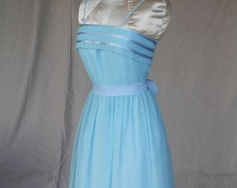 Sexy Summer Sale 1970's Elegant Baby Blue Chiffon Dress