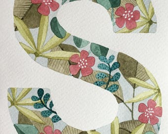 Handpainted Floral Initial Cards, for framing as a gift