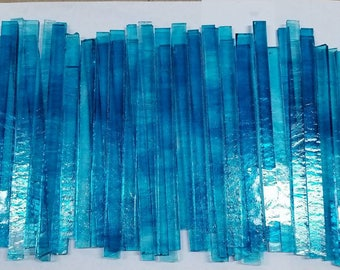 BLUE / CLEAR Mix Glass Strips for Mosaic work or art project in glass 1.5 Lbs