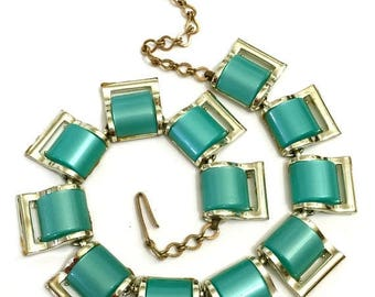 SUPER SALE Aqua Thermoplastic Necklace, Mid-Century  Necklace Collar, Gold Tone Metal,