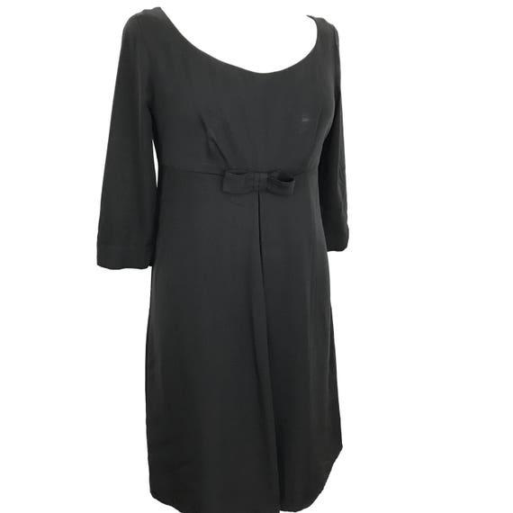 Vintage dress black dress 1960s cocktail dress handmade UK 14 16 vampy goth 50s babydoll volup plus size bow