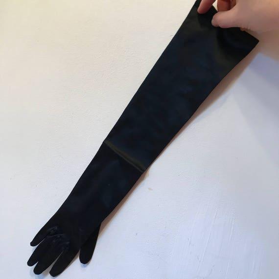 1950s evening glove satin black stretch nylon goth small elbow length size 5 5.5 50s glam pin up vamp glam 1940s bridal