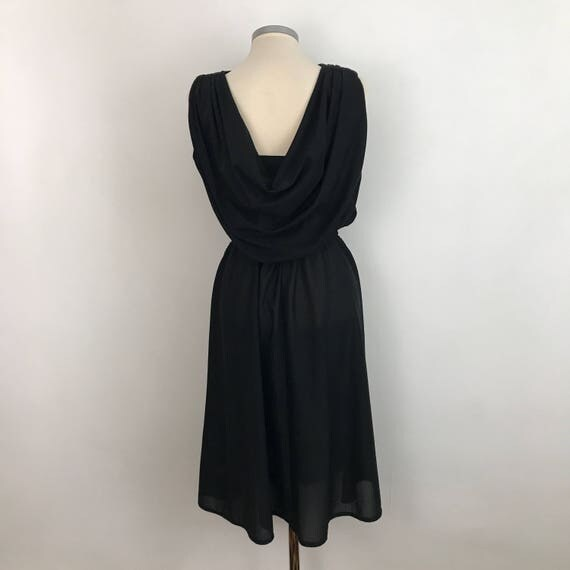 vintage disco dress black Grecian style draped midi UK 10 elasticated waist evening gown halloween 1970s 1980s Studio 54 low back vamp