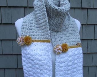 Crochet Scarf, Handmade Scarf, Gray and White Scarf, Pompom Scarf, Gray Crochet Scarf by CROriginals