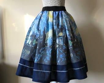 Ladies Hogwarts Starry Night tea length skirt