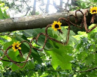 Sunflower Garland- Heart Garland- Grapevine Garland- Rustic Floral Flower Garland- Barn Sunflower Wedding Decor- Sunflower Party Decorations