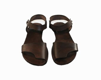 CLEARANCE Sale - Brown Leather Sandals - Design 6a = EURO # 42 - Handmade by WalkaholicS