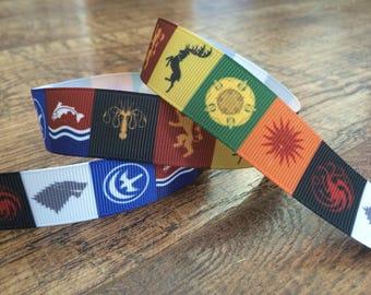 5 yards 7/8 game of thrones ribbon. Game of thrones ribbon, GOT ribbon, GOT hairbows, grosgrain ribbon, craft, crafting, sewing