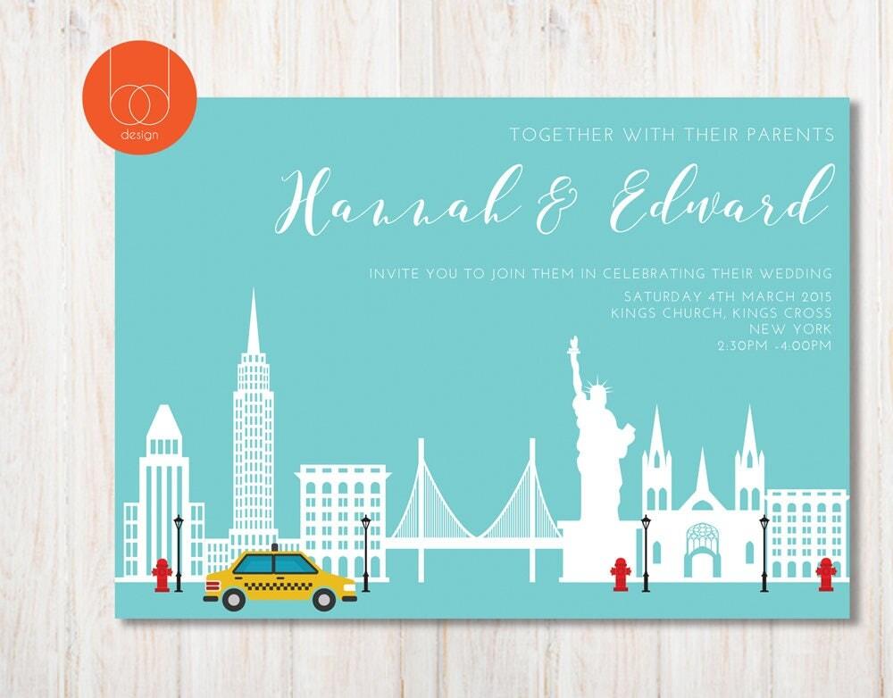 New York City Themed Wedding Invitation Destination Wedding