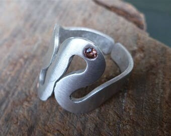 Ring craft aluminum 'Waves' point zircon coffee and point copper - colored jump ring