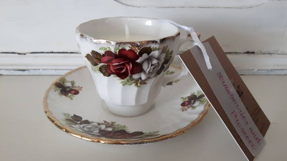 Tea cup candle. Scented soy wax vegan vintage tea cup candle, with strawberries and prosecco. Vegan candles. Organic soy. Made in Wales