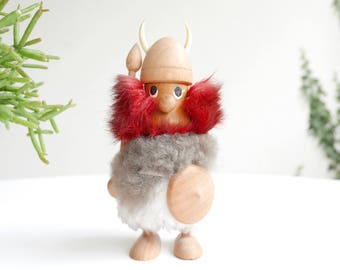 Vintage wooden viking, made in Denmark, 1950s / scandinavian danish figurine mid century modern