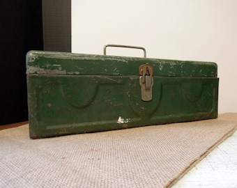 Vintage Green Box / Rustic Storage Box / Industrial / Chippy Green Paint /  Garage Chic