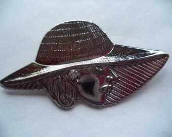 Vintage Unsigned Lightweight Silvertone Classy Lady wearing Hat Brooch/Pin
