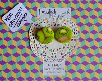 Kiwi fruit fabric polka dot earrings