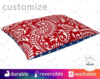 Paisley Red & Blue Pet Bed - Dog Bed or Cat Bed   Paisley, Lipstick, Cobalt, Blue, Polka Dot   Flippable, Washable